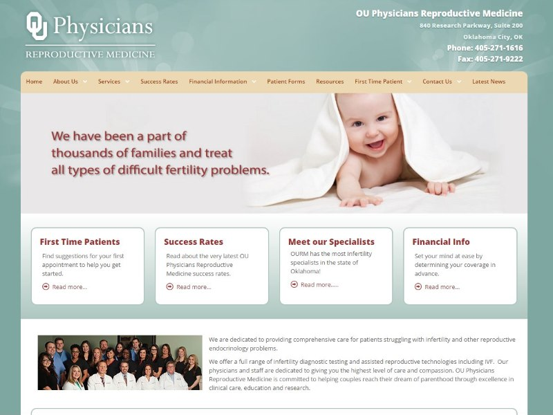 OU Infertility Infertility Medical Website Design by Website Physician